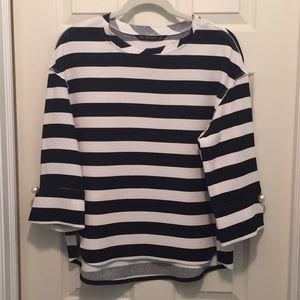 Zara navy and white striped top w/ cuff pin detail