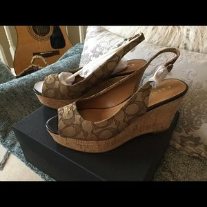 NWT Coach brown wedge heels never taken out of box