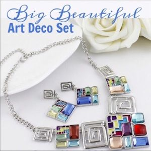 Silver Plated Art Deco Style Necklace Set
