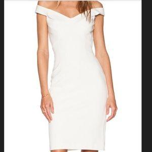 Nicholas US 2 white midi off shoulder dress