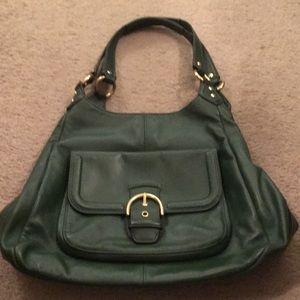 Dark Green Leather Vintage Coach Purse