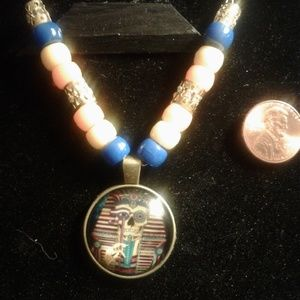 Gothic Steampunk Pharoah Necklace gold blue