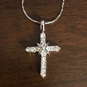 Stainless steal silver cross necklace