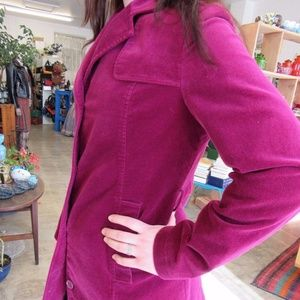 Esprit Purple Maroon Velvet Look Long Jacket