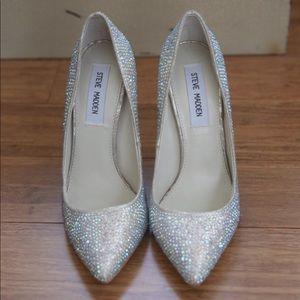 NEW Steve Madden Silver Embellished Heels