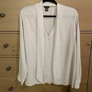 Ann Taylor Factory Button Down with Neck Tie