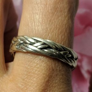 Vintage Sterling Silver Woven Band Ring Size 10