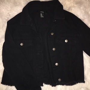 Cropped Black Denim Jacket with Lion
