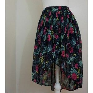 Kimchi Blue Pleated Floral Skirt High Low Hem