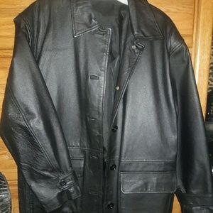 Black Leather Car Coat, S
