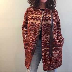 Free People Furry Aztec Oversized Coat Size SMALL