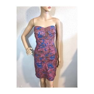 Rachel Roy pink & blue strapless dress
