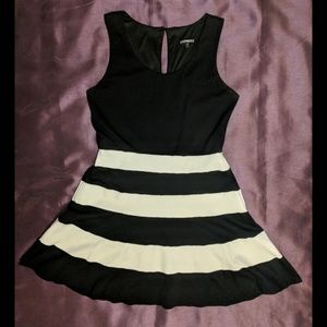Express striped black and White flare dress large