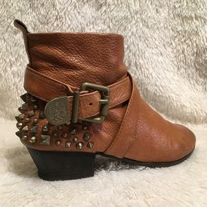 Vince Camuto Genuine Leather Brown Booties Spiked