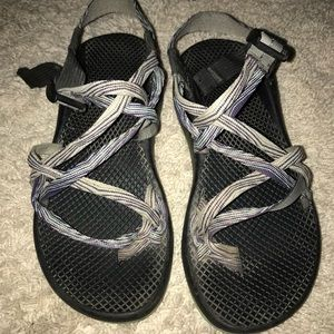 Chacos- Black, purple, and teal