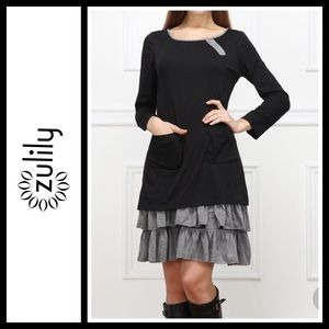 Reborn Charcoal Tiered Double-Pocket Dress