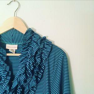 Soft Surroundings Blue Navy Striped Blouse Ruffle