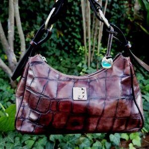 EUC Dooney & Bourke Croc Embossed Leather Hobo Bag