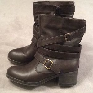 Brown Ankle Booties Faux Leather w/ Buckle, Strap