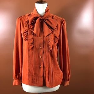Vtg 80s RARE Silk Bow Necktie Button Blouse M