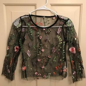 Embroidered Floral Mesh Long sleeve Crop Top