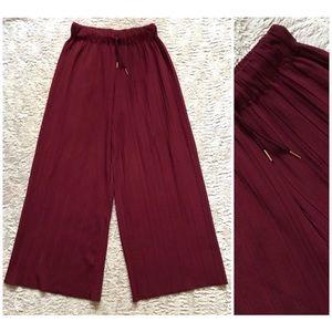 Vintage Burgundy Wine Red Pleated Wide Leg Pants