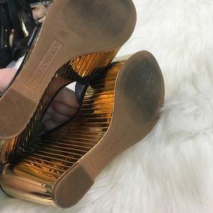 66ba1798c61 Enzo Angiolini Shoes - Enzo Angiolini Zamaz Gold Mirrored Funky Wedges