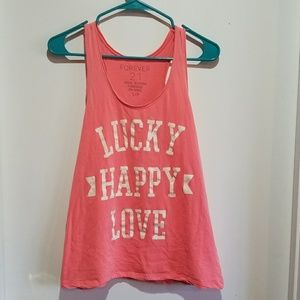 Forever 21 Lucky Happy Love Tank