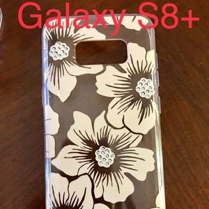 Kate Spade Clear, cream, blinged floral S8+ case