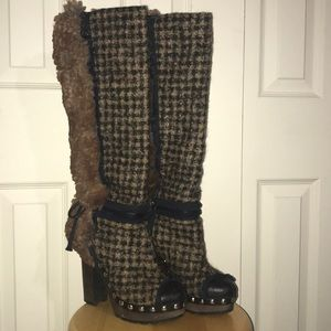 Gorgeous Chanel Fantasy Fur Tweed Boots!