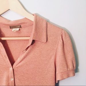 J. Crew Pink Blush Shimmer Blouse Sz Small