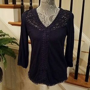 Lucky Brand V-neck Top with Lace Accents