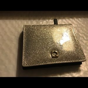 Kate Spade Glitter Wallet in Silver/Black NWT