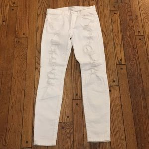 Current/Elliot white distressed skinny jeans