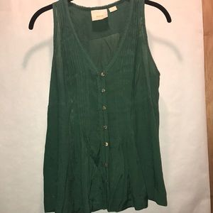 Anthropologie green tank with ruching detail