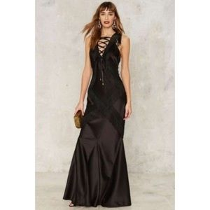 Nasty Gal Collection Fringe Lace Gown Small