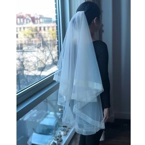 Light champagne / cream structured tulle veil
