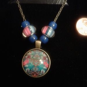 Mosaic Necklace gold blue pink