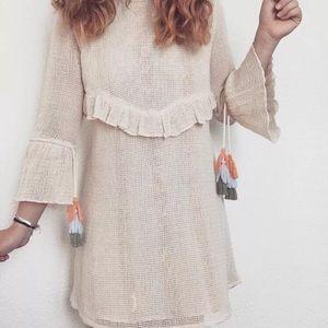 BNWT Zara Mesh Dress Pompom Ecru Frills Tassel