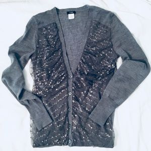 J. Crew gray sequin cardigan