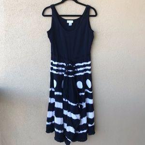 Soft Surroundings Navy Blue Tie-Dye Surplice Dress
