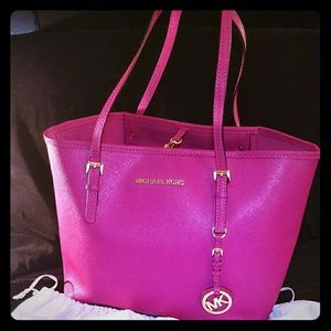 Michael Kors pink saffiano leather tote