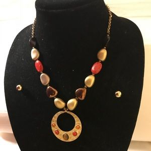 Gold,Brown,Red beads statement necklace & earrings