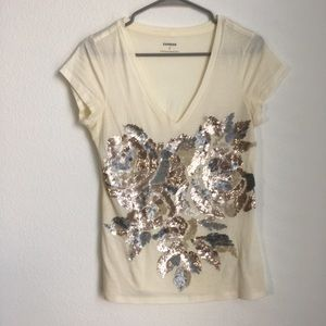 Express // Sequin Basic Cotton Tee Shirt
