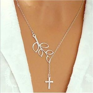 Silver Branch Cross Necklace