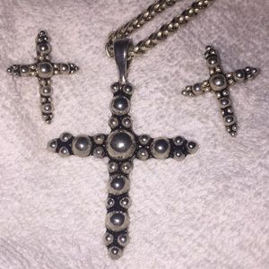 Cross pierced earring and necklace set
