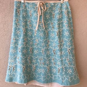 Nanette Lepore Vintage Embroidered Floral Skirt