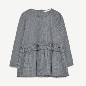 NWT ZARA FRILLED Gingham CHECK TOP Sz S