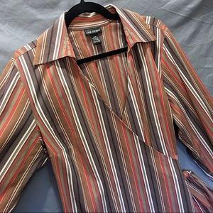 Lane Bryant Wrap Top V-neck Brown Striped 14 16
