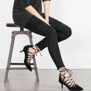 Lace up kitten heels